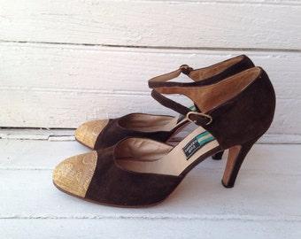 Vintage Dark Brown Suede Heels with Snakeskin Tips / Sz 9-9.5