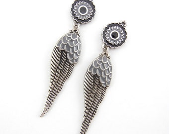 Gray Epoxy Wing Charms Pair Antique Silver-tone