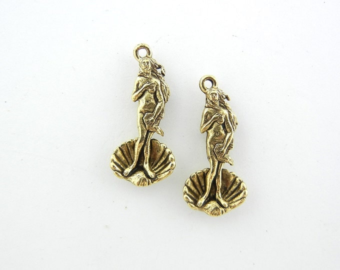 Pair of Gold-tone Pewter Venus on the Half Shell Charms