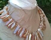 ON SALE SADIE titanium mystic quartz point statement necklace