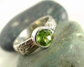Beautiful Peridot Leaf and Flower Patterned Band Ring Made to Order