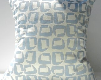 New 18x18 inch Designer Handmade Pillow Cases in blue and grey on cream graphic pattern