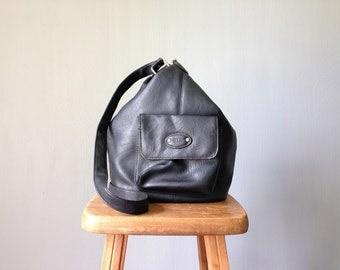 Vintage MINI Backpack • 1990s Grunge Revival • Black Backpack Purse Bag •Man Made Materials Faux Leather Vinyl • Crossbody Messenger Tote