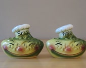Vintage Deforest of California Anthropomorphic Pickle Chef S&P Shakers - 1950s California Pottery