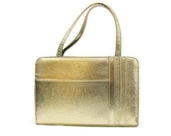 50s 60s Purse Vintage Gold Metallic Handbag