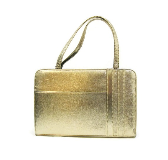 50s 60s Purse Vintage Gold Metallic Handbag