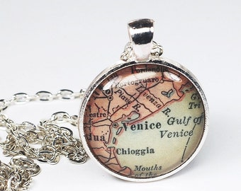 Venice Map Necklace- Vintage Venice Map Pendant Jewelry from an Antique 1915 Atlas, Italy Map Necklace, Venice Pendant, Venice Necklace