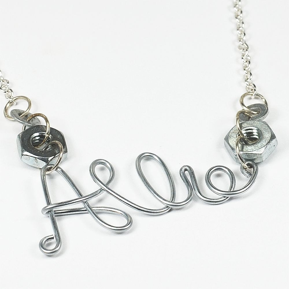 personalized jewelry wire name necklace upcycled silver
