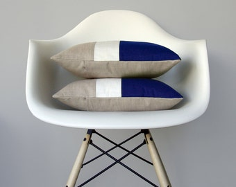 Cobalt Blue & Cream Color Block Pillow (Set of 2) Modern Home Decor by JillianReneDecor | Minimal | Linen Colorblock Pillow