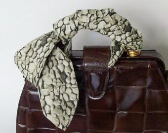 Gray Green Stones Head Scarf / Hair Accessory / Neck Scarf / Handbag Adornment / Rockabilly Scarf / Gift Under 15