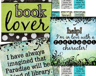 Instant Download - NEW- BOOK Nerd 2 (1 x 1 inch) Images  Sale - Digital Collage Sheet scrapbooking printable stickers card ephemera