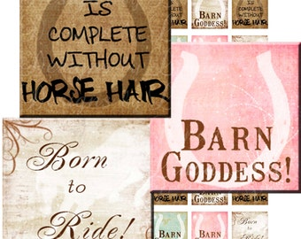 Instant Download - Barn Goddess (.75 x .83 scrabble inch) Images - Digital Collage Sheet printable stickers magnet button equestrian horse