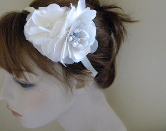 Bridal headband,Bridal head piece side crown Ivory Silk Flowers,Crystal headband, Vintage Upcycled -DARMA