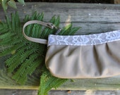 Leather Clutch wristlets- Ladies wrist wallets- handmade leather wristlets- Small leather purse- Bridesmaids Clutches-  Leather  with lace
