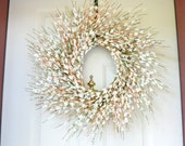 Cream Paper Flower Wreath for Spring or Summer with Pear Blossom Paper Flowers