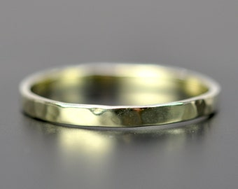 14K Green Gold 2mm Ring, Hammered Stacking Band, Unique Wedding Ring, Eco Friendly, Sea Babe Jewelry
