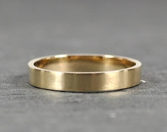 Gold Ring, 14K Yellow Gold 3x1mm Flat Edge Ring, Solid Gold Wedding Band, Matte Finish, Recycled Metals, Eco-Friendly, Sea Babe Jewelry