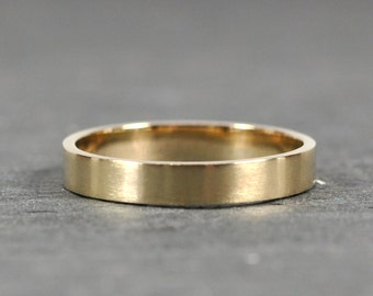 14K Yellow Gold 3x1mm Flat Edge Ring, Solid Gold Wedding Band, Matte Finish, Recycled Metals, Eco-Friendly, Sea Babe Jewelry