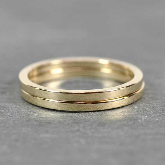 solid gold stacking rings 14k yellow gold 1 5 by 1 5mm square
