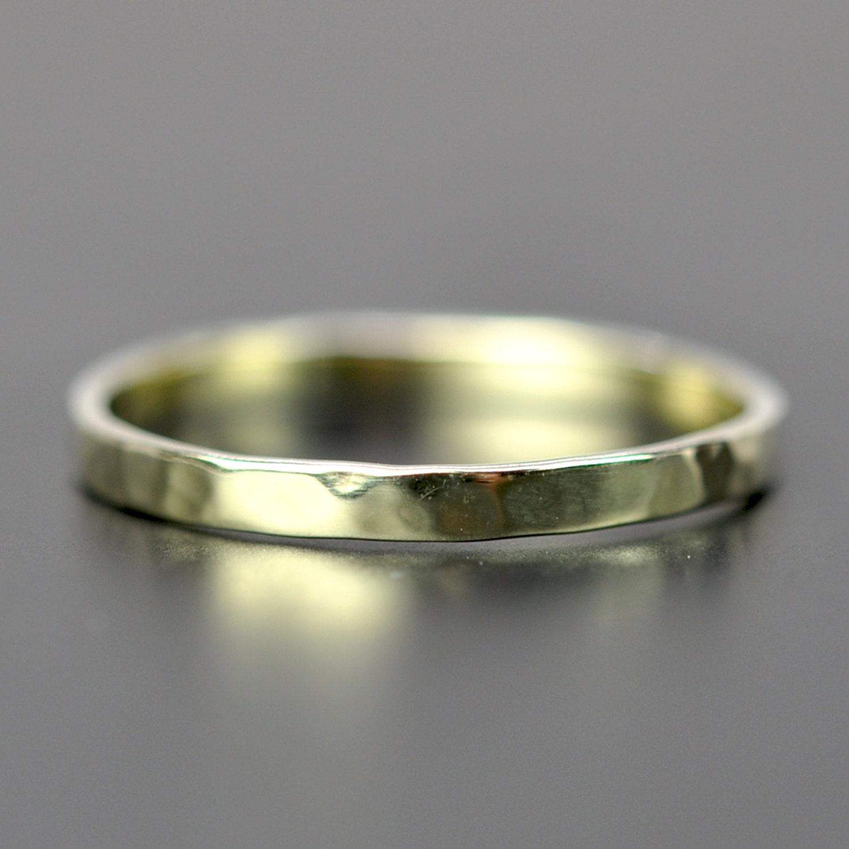 14k green gold 2mm ring hammered stacking band unique. Black Bedroom Furniture Sets. Home Design Ideas