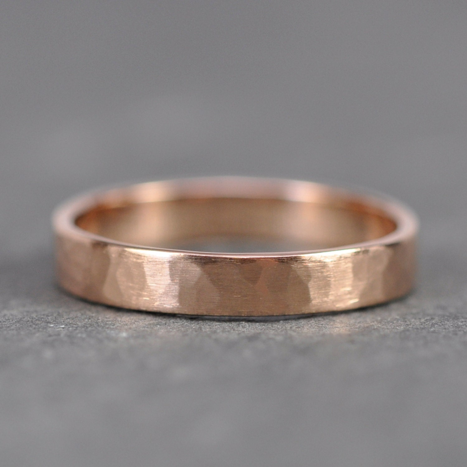 18K Rose Gold Wedding Band 3mm Wide Hammered By Seababejewelry