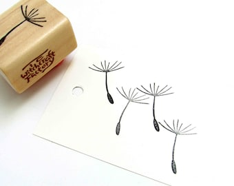 Hand Carved Rubber Stamp, Dandelion Seed