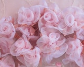 36 pc BLUSH PINK satin organza ribbon wired rose rosette flower for bridal hair bow accessory