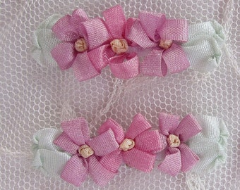 4pc Rosy Mauve Pink Vintage Like Silk Ribbon Embroidered Daisy Flower Applique Christening Gown Baby Antique Doll Clothing Hair Dog Bow