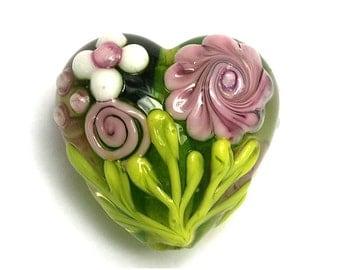 Pink Rose w/Green Leaf Heart Focal Bead - Floral - Handmade Glass Lampwork Bead 11812005