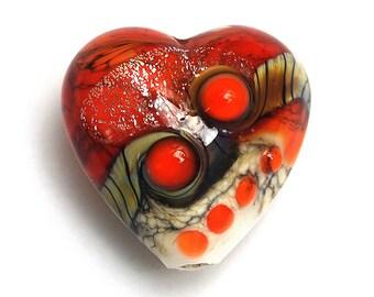 Fire Red Stardust Heart 11831105 - Handmade Glass Lampwork Bead