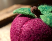 Perky Plum  - Felted Fruit Pincushion