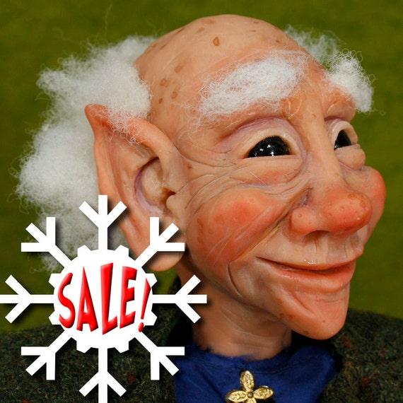 NEW SALE, Elf Art Doll Sculpture, Nestor the ELF and his Dragon