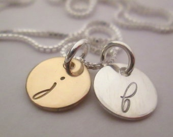 Valentine's Day - Mini Initials Necklace - 14 kt Solid Gold and Sterling Silver Necklace - Personalized Necklace  - Hand stamped