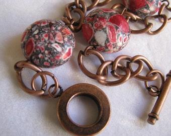 Red Mosaic Magnesite Bracelet, Copper Bracelet, Red Bracelet