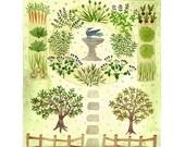 Bee Garden Print, herb garden art, orchard illustration, giclee art print, watercolor print, green