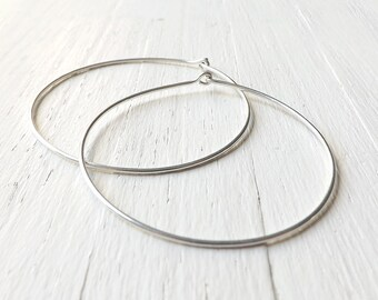 Extra Large Sterling Silver Hoop Earrings, 2 Inch Silver Hoops, Hammered Hoop Earring Eco Friendly Jewelry