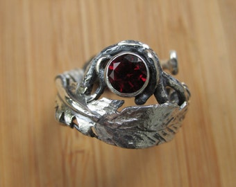 Sterling Silver Medium Feather and Red Garnet with Roots Adjustable Ring