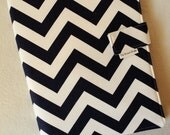 Legal Pad Fabric Notebook Organizer with Pockets, Pad, and Pen, Navy Blue Chevron