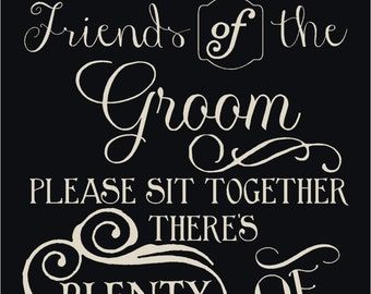 Friends Of The Bride and Groom Chalkboard Style Stencil 7 mil Transparent Blue Mylar Reusable