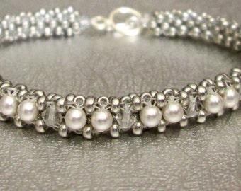 sterling silver beaded jewelry pearl bead bracelet crystal beadwork