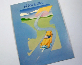 Vintage Novelty Postcard, A Visit by Mail, Kitschy, Drawing Board Greeting Card, Blue  (179-14)