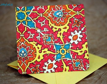 Blank Mini Card Set of 10, Funky Floral Tile Design with Contrasting Pattern on the Inside, Bright Yellow Envelopes, mad4plaid