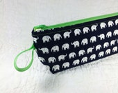 Back To School - Zippered Pouch - Pencil Case - Cosmetic Bag - Tech Accessories Bag - Tiny Elephants Black and Green