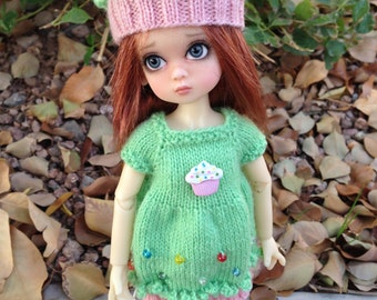 PATTERN to Knit Cupcake Dress and Hat for YoSD Dolls