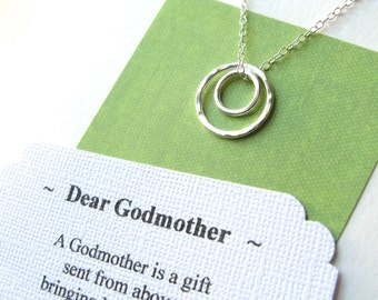 GODMOTHER Gift Necklace With POEM CARD - Choose from 2 Different Poems Gift for Godmother Jewelry Godson Goddaughter Sterling Silver