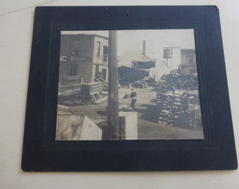 Antique Cabinet Card Old Boat Yard CC113