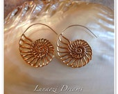 Handmade Ammonite brass earrings