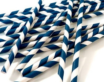 Navy Blue and White Striped Straws - Includes 24