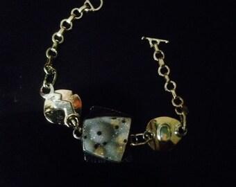 Bracelet 14k yellow Gold  Dalmatian Drusy Ethiopian Opal Oxidized Sterling Fine Silver 7 inch Toggle Clasp