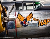 Military Aircraft Nose Art, Pinup girl Miss Hap, North American RB-25 Mitchell Bomber, Pinup Art, Signed Photograph